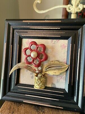 Vintage Faucet Handle Framed Jewelry Art Flower 5x5