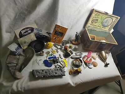 Vtg Collectible Junk Drawer Lot Lily White pins postcards box keychains