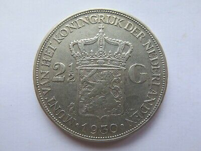 1930 NETHERLANDS HOLLAND SILVER 2.5 GULDEN in EXCELLENT COLLECTABLE CONDITION