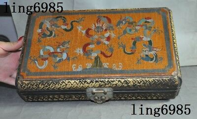 Old Chinese Lacquerware wood 5 Dragon play bead statue jewelry storage Chest Box