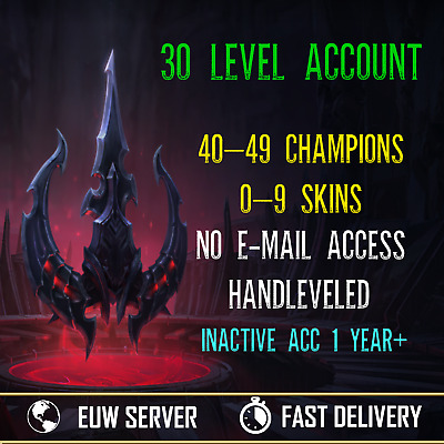 League of Legends Account Lol EUW Smurf Unranked 40-49 Champs 0-9 Skins 30 lvl