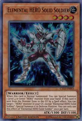 Elemental Hero Solid Soldier - Ultra Rare YUGIOH Card Mint / Near Mint Condition
