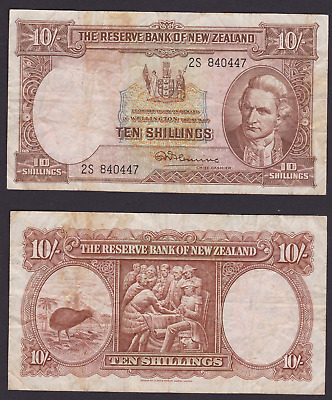 New Zealand Ten 10 Shillings Bank Note Flemming 2s 840447 Vintage Circ (HG18)