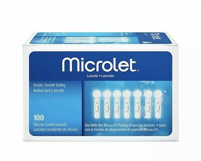2 Boxes X Microlet  Sterile Lancets 100 Special Silicon Safe Coating Bayer