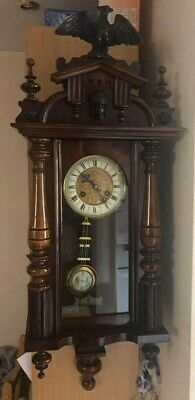 wall bracket chiming cased clock r=a initials on pendent poss early 1900's