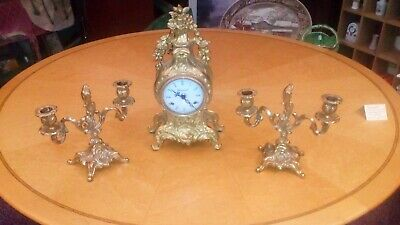 Imperial Gilt Mantle Clock & 2 Candle Sticks