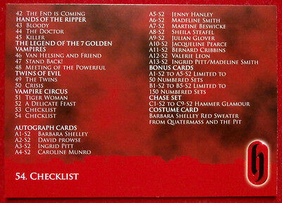 HAMMER HORROR - Series Two - Card #54 - CHECKLIST #2 - Strictly Ink 2010