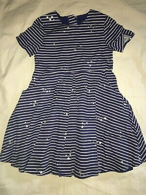 JOULES Girls Blue-White Stripe Sparkle Star A-Line Dress Summer Party Age 7
