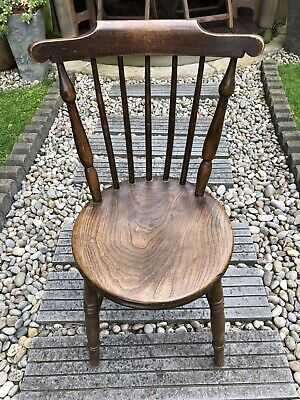 Antique Vintage Ash & Elm Penny Windsor Kitchen Chair With Solid Elm Seat.