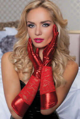 Red Lace and shiny elbow length gloves