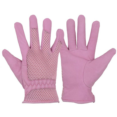 Pigskin Leather women Gardening Gloves,Stretchable Tough Working Glove,3D Mesh