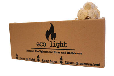 Odourless Natural Large Long Burn Firelighters Eco Friendly ECO LIGHT Huge Box