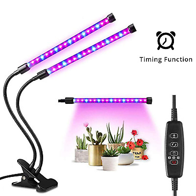 YEESON 18W Timing Plant Grow Light, Dual Head 38 LED Dimmable Levels Grow Lamp