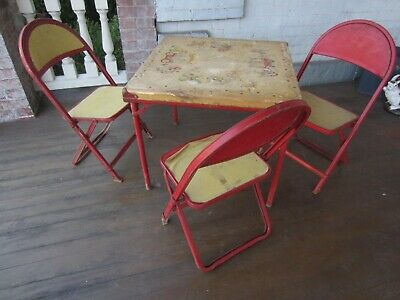 """Vintage Child's Table and 3 Chairs -1950's """"Circus"""" theme - folding metal"""