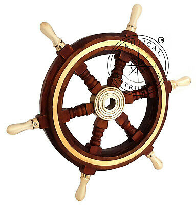"Vintage Style 12"" Brass & Wood Ship Wheel Helm Nautical Home Decor Boat Steering"