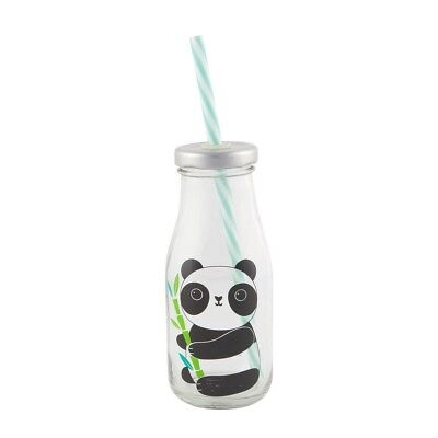 Aiko Panda mini milk bottle with straw (Sass and Belle)