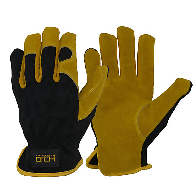 Men Leather Gardening Gloves, Utility Work Gloves for Garden & Building Work, &