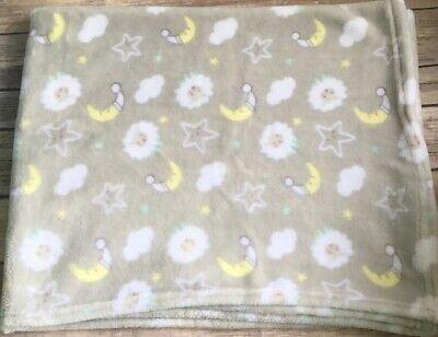 Baby Starters Grey White Yellow Moon Stars Sheep Security Blanket Lovey 30x36