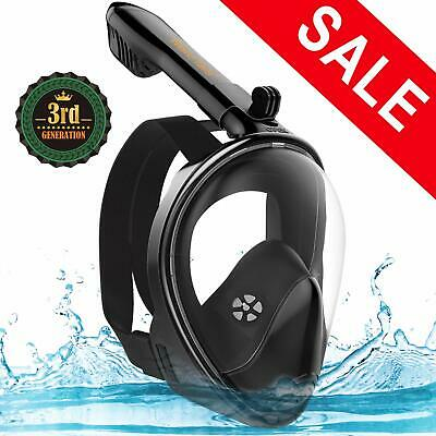 Full Face Snorkel Mask Foldable Snorkeling with Camera Mount 180° Panoramic View