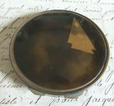 Beautiful Antique French Art Deco Faux Tortoiseshell Brass Inset Powder Compact