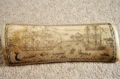 Antique Faux Scrimshaw Whale/Walrus Tooth-horn ENGRAVING,Whaler indian off Tahit
