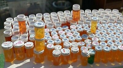 180 Empty Prescription Pill Bottles Child Resistant Lid Various Size Lot Amber