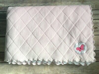 Child of Mine Carters Pink Butterfly Baby Blanket Scalloped Quilted White Sherpa