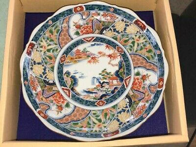 """Japanese Hand-Painted Imari Serving Bowl with stamp on back. 10.25"""" X 3"""" Tall"""