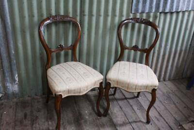 A Lovely Pair of Victorian Antique Cedar Balloon Back French Chairs