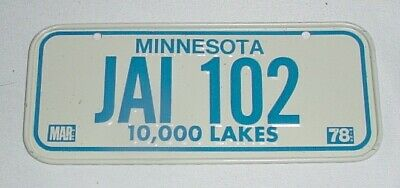 1978 Mini State LICENSE PLATE • MINNESOTA - 10,000 Lakes • Cereal Bicycle