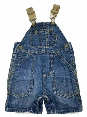 INFANT BOYS BABY GAP 1969 BLUE Jean Overall Shorts SIZE 3-6 Months