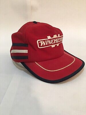 Vintage 3 Stripe Trucker Hat Red White Blue USA Made Winchester Army Gun