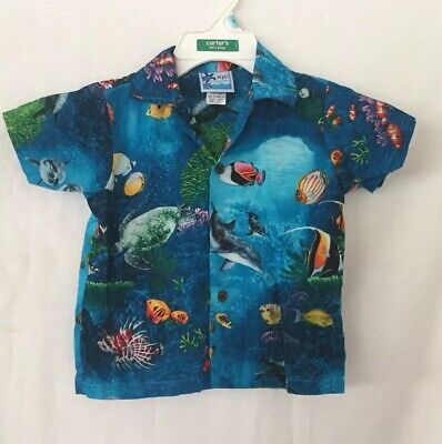 RJC Boys Hawaiin  Shirt Size 3T Blue With Sea Life.