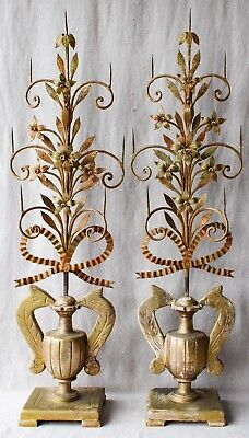Large Antique 19C Italian Spanish Colonial Wrought Iron Floral Altar Candelabras