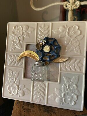 Vintage Jewelry Faucet Handle Art Framed Flower Salt Shaker Vase 3x3 Gift