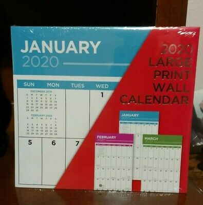 2020 Large Print Wall Calendar ~ Include Last 4 Months of 2019 ~ NEW