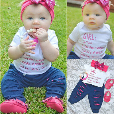 UK Seller Newborn Infant Baby Girls Cotton Romper Playsuit+Pants Outfit Clothes