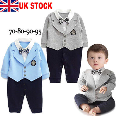 UK Seller Infant Baby Boy Romper Jumpsuit Playsuit Bodysuit Outfit Party Clothes