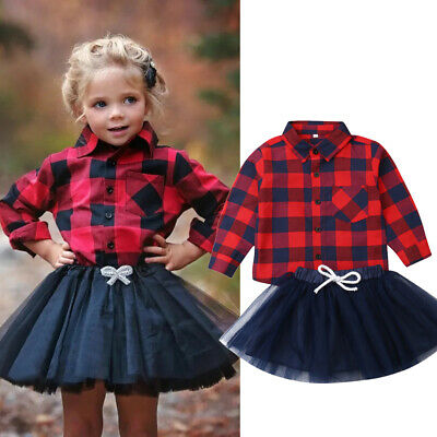 2PCS Toddler Baby Girls Clothes Long Sleeve Plaid Shirt+Tulle Skirt Outfits Set