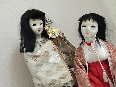 Vintage Japanese Geisha Nylon Dolls Ceremonial Silk Outfits Gems Crown Jewels
