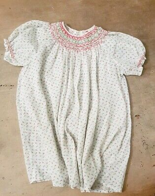VINTAGE 1970's Hand Smocked COTTON VOILE HAIL SPOTS/FLOWERS  Dress SIZE 2/3