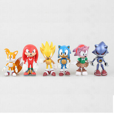 6 PCS Sonic Amy Tails Mephiles Knuckles The Hedgehog Action Figures Doll Toys