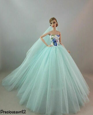 New Barbie doll clothes outfit princess wedding dress gown net dress veil shoes.