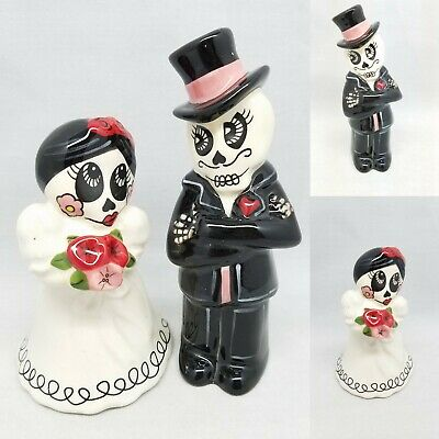 Day of the Dead Wedding Suger Skull Halloween Salt Pepper Shakers Skeleton DOD
