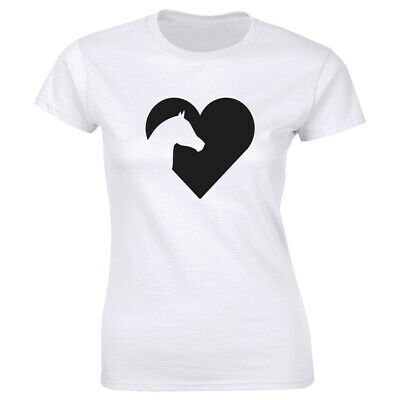 1Tee Womens Loose Fit Horse Silhouette Love Heart T-Shirt