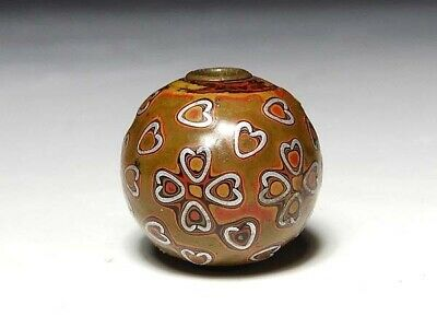 Meiji period Japan antique wooden Cherry blossom lacquer Ojime bead netsuke