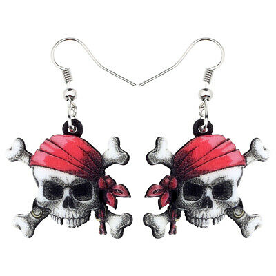 Acrylic Halloween Pirate Skull Earrings Dangle Punk Jewelry For Women Party Gift
