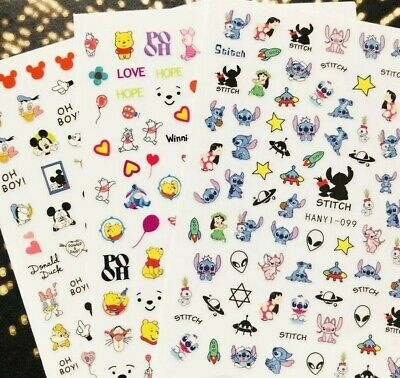 20+ Styles Cartoon Characters Nail Art sticker Pig mouse  Kawaii barbie pokemon