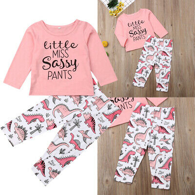 UK Newborn Kids Baby Girl Sassy Tops T-Shirt Long Pants Outfits Clothes Summer