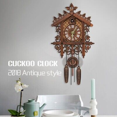 Black Wall Clocks Pendulum Wooden Decorative Hanging Clock Forest Home Decors